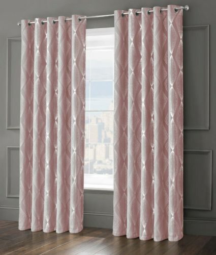 GEOMETRIC AZTEC ONXY LIVINGROOM BEDROOM THERMAL BLACKOUT RING TOP EYELET CURTAINS BLUSH PINK